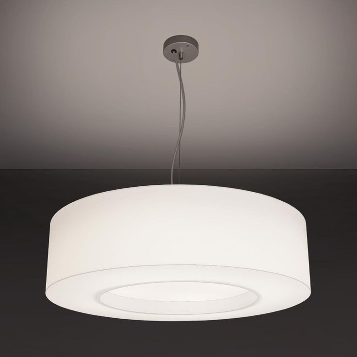 """Brownlee Lighting LED Pendant - Model 2616 (NEW)  Since it's not quite a donut, we've nicknamed this series the """"fauxnut."""" The one-piece 2616 is constructed of a matte white acrylic outer shell with a flat, inset diffuser opening. Available in a matte white acrylic or woven black fabric diffuser with an array of controls and other options to choose from. This unit is perfect for club houses, common areas, offices, conference rooms, libraries, lobbies, corridors and more."""