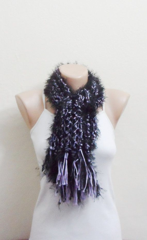 black lila knit scarf ciliated thread multicolor knit scarf