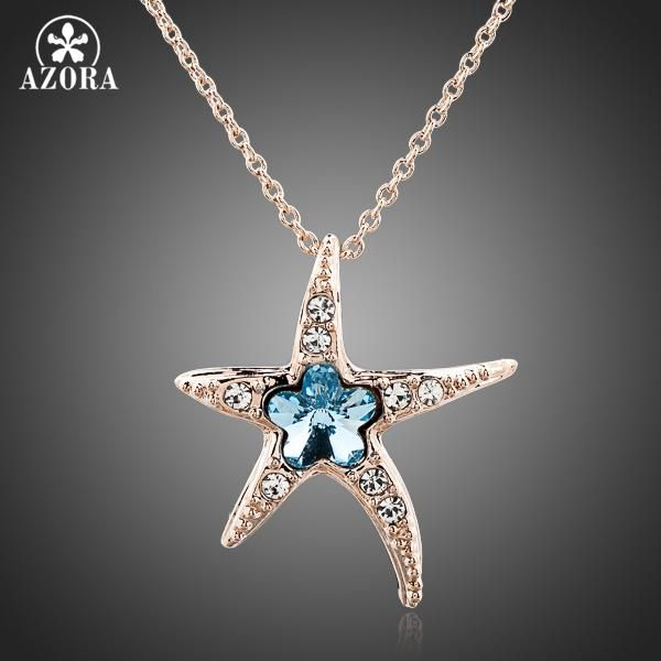 Starfish with Blue Wintersweet Rose Gold Stellux Austrian Crystal Necklace