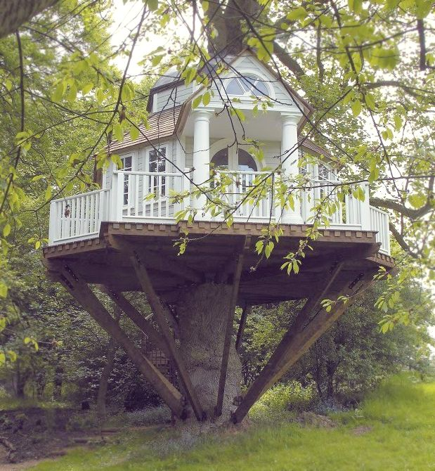 treehouse - this is more like a tree mansion, small scale but wonderful. Love the wrap around porch...
