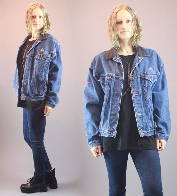 Vintage 90s Jean Jacket Denim Leather by BadassVintageRevival