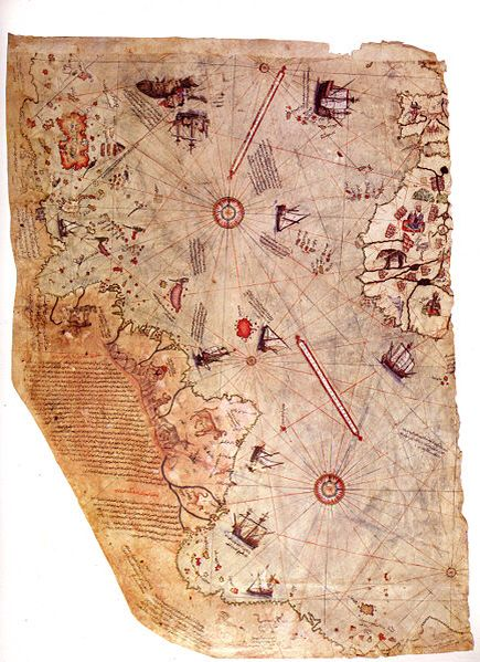 The Piri Reis map - In 1929, a group of historians made what can only be described as an amazing discovery, written on the skin of a gazelle. After study and research, they found that it is a genuine map drawn in 1513 by Piri Reis, a well documented admiral of the Turkish navy. He depicts Europe and North Africa, the coast of Brazil, several islands (Azores, Canary Islands, and the mythical island of Antilia), and even Antarctica, which was thought to be discovered more than 300 years later.
