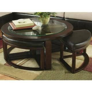 Shop For Cylina Solid Wood Glass Top Round Coffee Table With 4 Stools Get Free