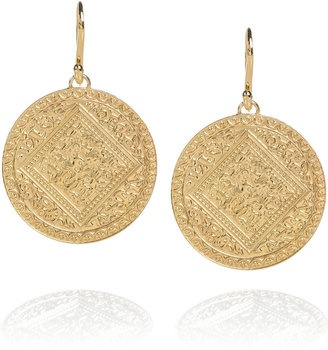 ShopStyle: Monica Vinader Marie 18-karat gold-vermeil coin earrings