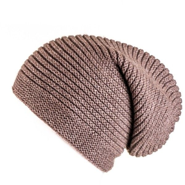 Tawny Brown Cashmere Slouch Beanie Hat found on Polyvore