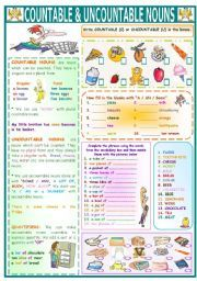 English worksheet: COUNTABLE&UNCOUNTABLE NOUNS