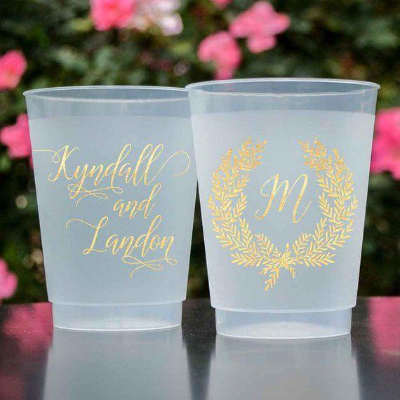 Monogrammed Shatterproof Wedding Cups, Personalized Wreath