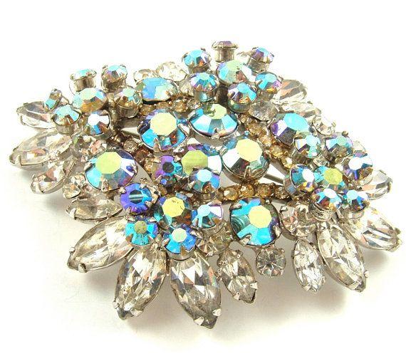 Rhinestone Brooch Vintage Glamour Jewelry Juliana by kiamichi7, $95.00