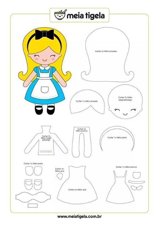 pattern alice in wonderland mini felt plushie doll