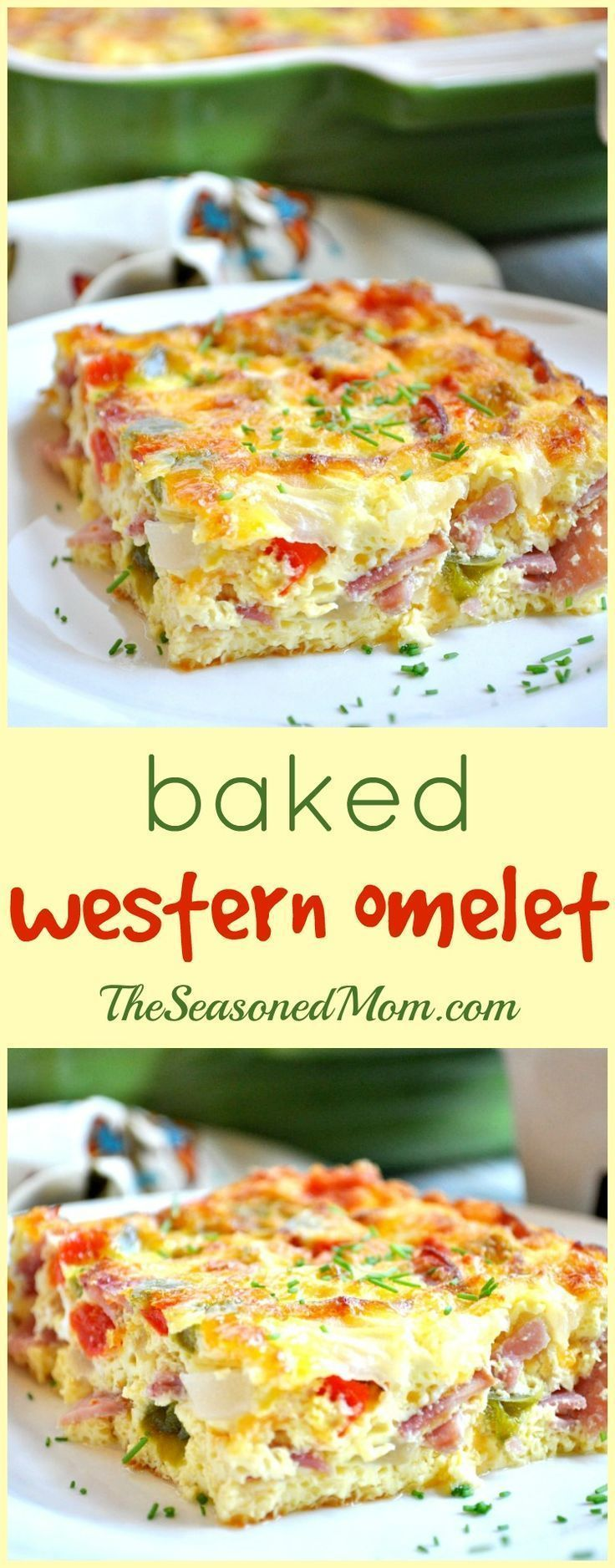 The easiest way to make eggs for a group! Full of protein, veggies, and lean meat, this Baked Western Omelet is a healthy breakfast, brunch, or dinner option that will fill you up and keep you lean! #breakfast #omelet #healthy