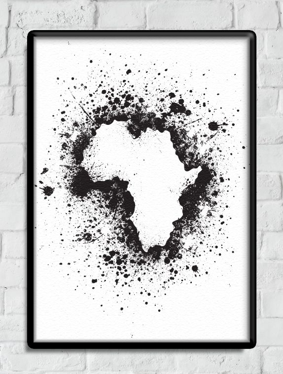 Printable Valentines Gift for Her, Black and White Map of Africa