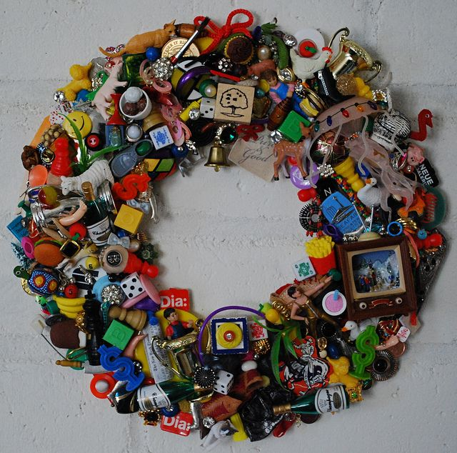 a recycled wreath ... what to do with the left over bits from various toys and other 'things'
