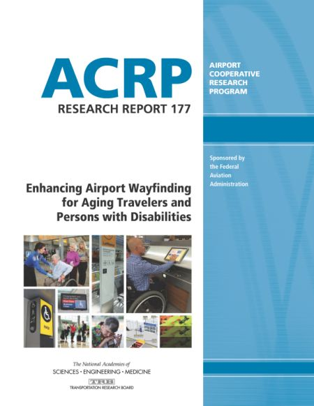 """Enhancing Airport Wayfinding for Aging Travelers and Persons with Disabilities  Final Book Now Available  TRB's Airport Cooperative Research Program (ACRP) Research Report 177: Enhancing Airport Wayfinding for Aging Travelers and Persons with Disabilities provides guidance to assist aging travelers and persons with disabilities to travel independently within airports using pedestrian wayfinding systems. The guidebook addresses travel by people with cognitive sensory and other mobility challenges.  The Wayfinding Accessibility Audit Checklist documents issues that should be considered in a baseline airport wayfinding accessibility audit; it is provided in Word format so that users can check items off the list. The research team collected ratings of airport wayfinding applications from users of those applications on the Application Review Criteria testing and comment form. A PowerPoint presentation provides an overview of the ACRP research produced as a part of this report.  Disclaimer - This software is offered as is without warranty or promise of support of any kind either expressed or implied. Under no circumstance will the National Academy of Sciences Engineering and Medicine or the Transportation Research Board (collectively """"TRB"""") be liable for any loss or damage caused by the installation or operation of this product. TRB makes no representation or warranty of any kind expressed or implied in fact or in law including without limitation the warranty of merchantability or the warranty of fitness for a particular purpose and shall not in any case be liable for any consequential or special damages.  Topics: Transportation  http://ift.tt/2gW2Ipu"""