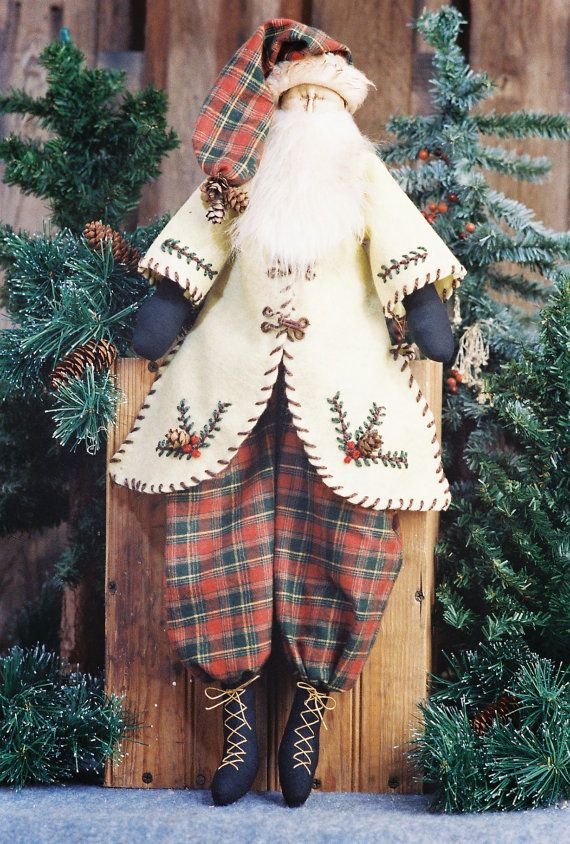 Mailed Cloth Doll Pattern - 24in Primitive Santa