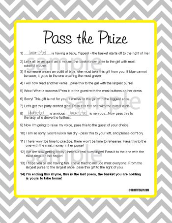 Wedding Shower Pass The Gift Poem : Pass The Prize Game-Pass the prize game, baby shower game, baby shower ...