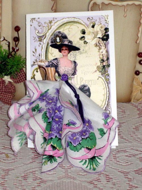 Victorian Elegance Keepsake Hanky Card by onceuponahanky on Etsy