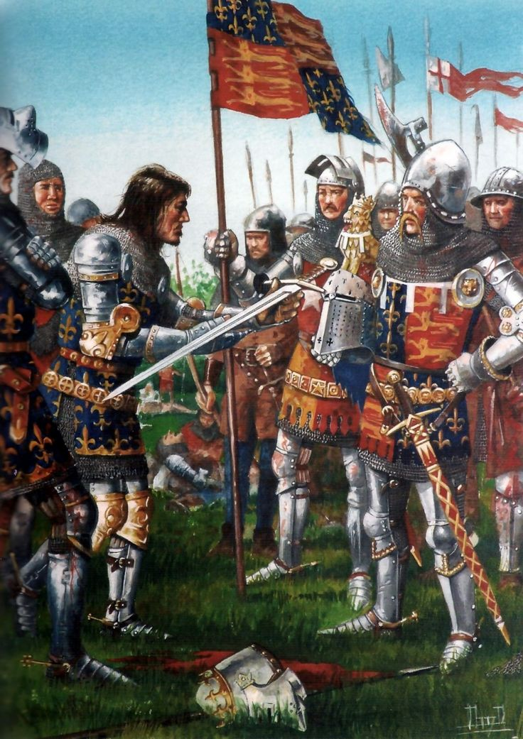 Surrender of King John II of France to Edward the Black Prince of England after the Battle of Poitiers, Hundred Years War