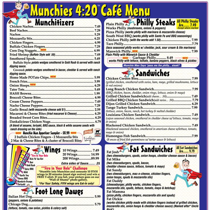 THE MENU - Munchies 420 Cafe OMG I want to go here so bad. hahaha.