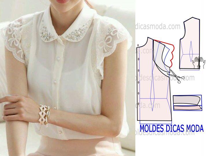 O trabalho que proponho hoje tem o propósito de facilitar a transformação do molde blusa com gola bordada, O corte e costura deste modelo de blusa é baixo.