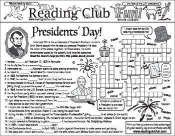 U.S. PRESIDENTS - Enjoy a Presidents' Day-themed Two-Page Activity Set (Abraham Lincoln), Presidents of the United States Quiz and Word Search Puzzle & a reading log and certificate set.