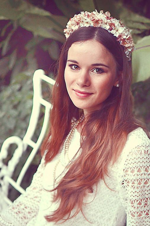 Tiara floral headband floral wreath flower hair by FlorangeDeXeni