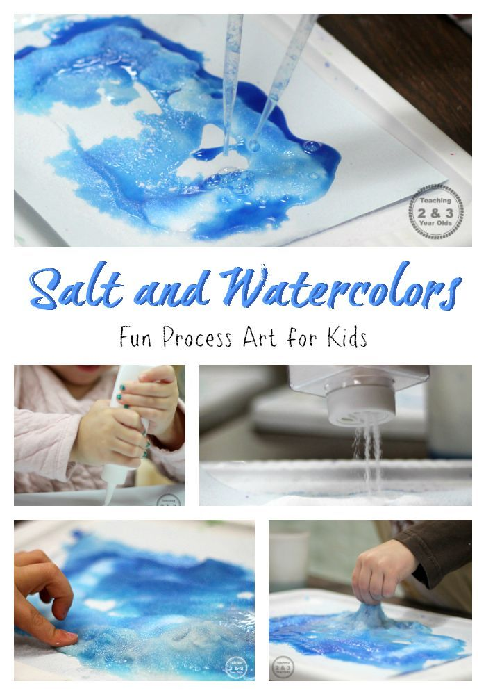 Explore what happens at the art table when you drop watercolors on salt and glue. A fun science and process art activity for preschoolers!