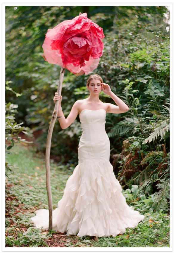 statement color and piece. dress - Matthew Christopher. flower piece - Blue Elephant Weddings.