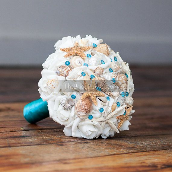 Turquoise seashell wedding bouquet with sea by TheBridalFlower