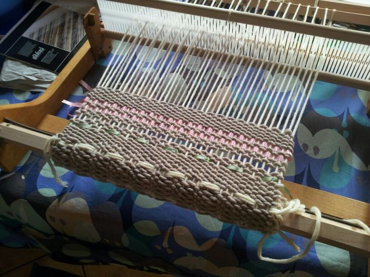 rigid heddle weaving - wool and ribbons