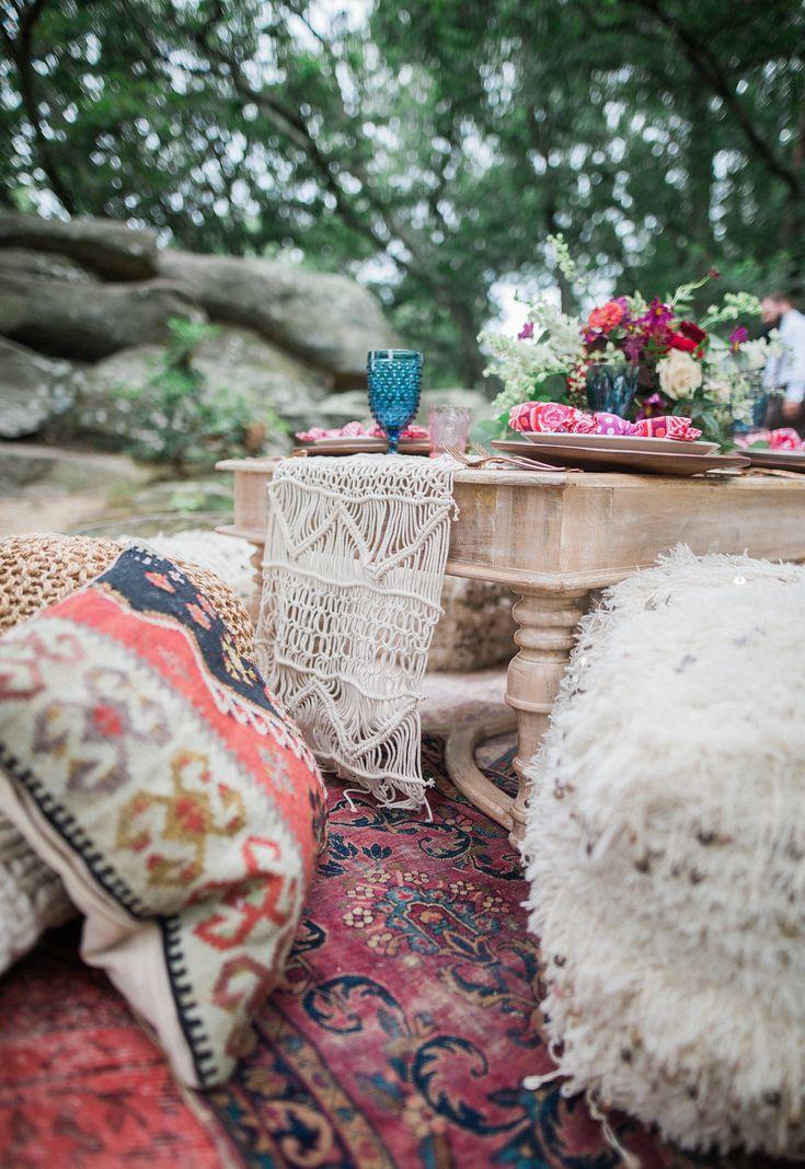 "Maryland Boho Wedding Inspo ft. ""White Trestle Base Table, Nadia Wedding Blanket Poufs & Dusky Blue Glassware Mix"" || Photography: Focus Bay Photography. Planning: Elle Reaux. Floral: Blush Floral Design Studio. Rentals: White Glove Rentals."