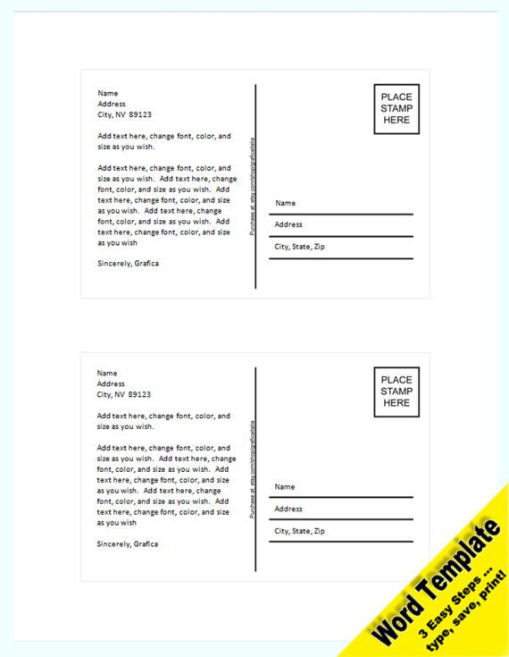21 best Etsy - Word and PDF Templates images on Pinterest Word - postcard template word