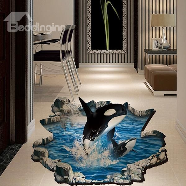 Creative 3d Dolphin Bathroom Wall Stickers For Room