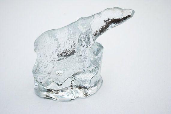 Vintage Swedish Glass Bear Figurine Bergdala by SoulSisters16