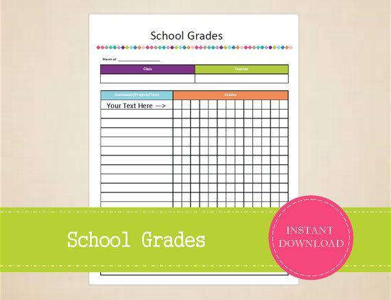 School Grades  Student Planner  Grades by MBucherConsulting