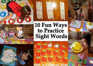 10 Fun Ways to Practice Sight Words with kids - learning through play---same ideas can be used to learn letters and numbers!