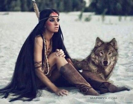 Native Indian girl and wolf