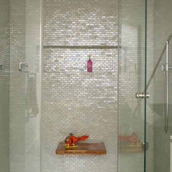 irridescent mosaic tiles. Would look great against dark grey