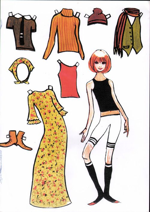 Free Danish Mod Teenager Paper Doll With 1 Doll and 5 Items of Clothing