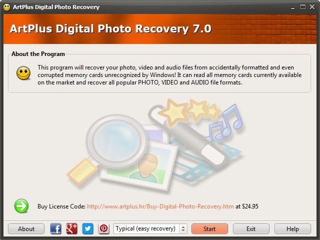 ArtPlus Digital Photo Recovery will help you recover lost images, videos or music files from deleted, accidentally formatted or even corrupted digital camera or mobile phone memory cards.