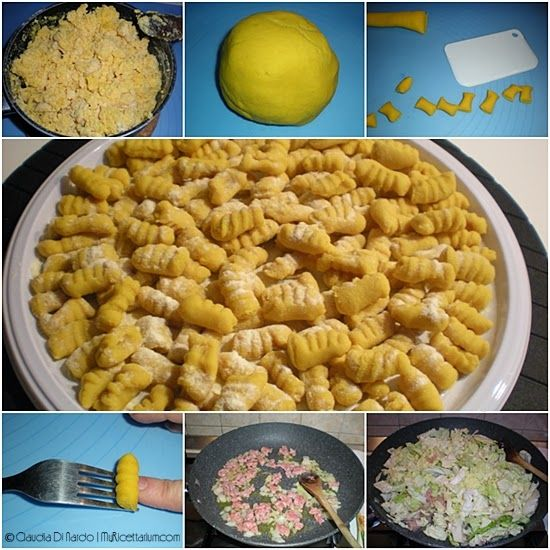 Gnocchetti di semola e curcuma con verza e salsiccia