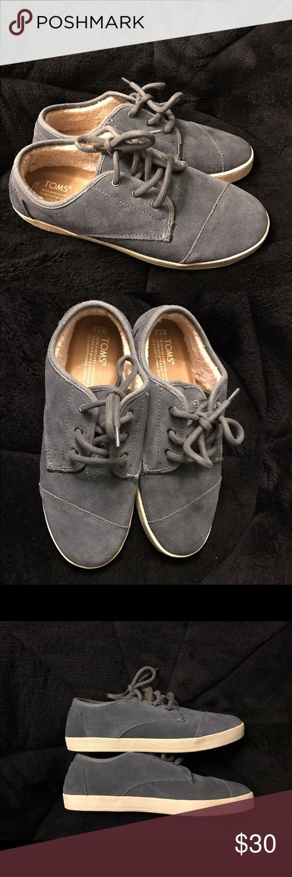 Toms suede gray size 7.5W New gray suede toms size 7.5W ...fuzzy inside which makes them very warm. New but have no tags and no box. TOMS Shoes Sneakers