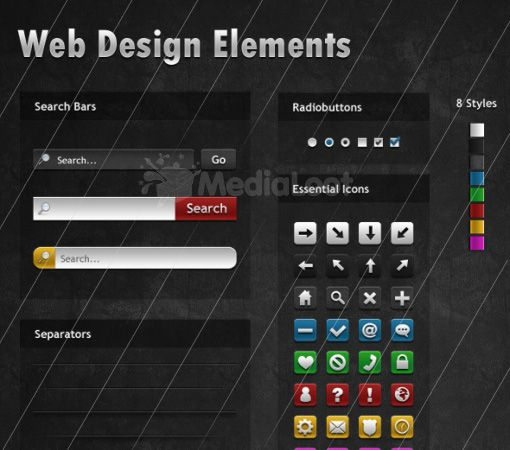 50+ free PSD web design elements