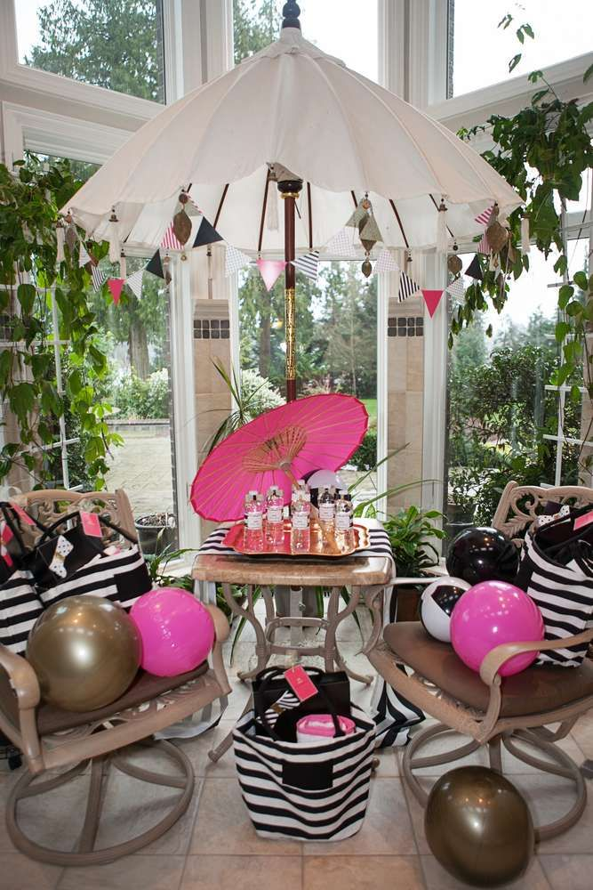 Kate Spade pool birthday party! See more party ideas at CatchMyParty.com!