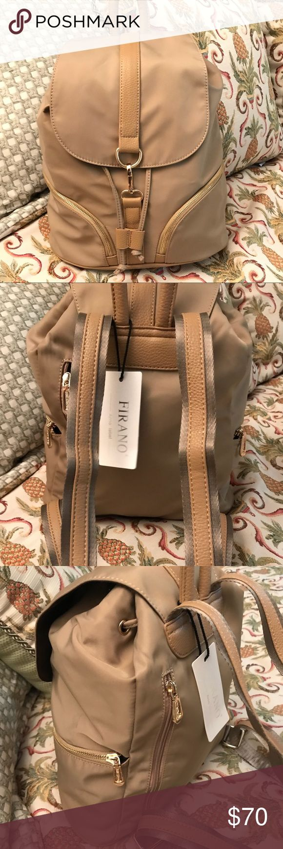 """Firano Beige Backpack with Draw String Clip Bag Firano Beige Backpack with Draw String Clip Bag NWT No. A301122 2 side pockets 1 interior zip pocket Measurements: L 13.5"""", H 13"""",  W 5.5""""  Adjustable straps: 25"""" to 34"""" Purchased in Japan Firano Bags Backpacks"""