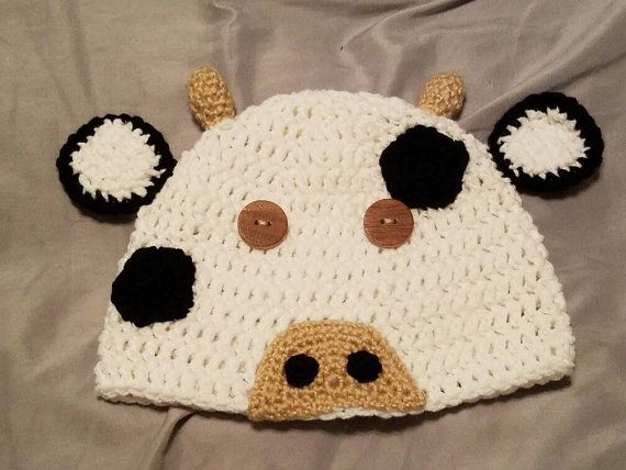 Check out this item in my Etsy shop https://www.etsy.com/listing/472958214/youthadult-size-crocheted-cow-beanie