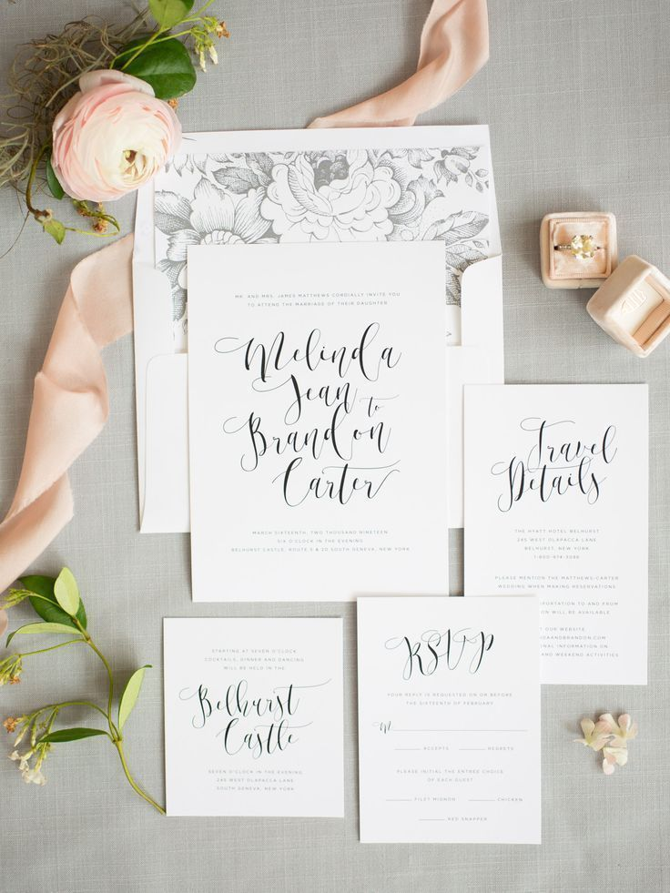 A gorgeous modern calligraphy type creates a whimsical, yet modern look on our Flowing Calligraphy wedding invitations. Complete with a pretty mrs box and blush silk ribbon. So romantic!
