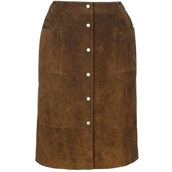 Suede Skirt | Long Tall Sally ($69) ❤ liked on Polyvore featuring skirts, suede leather skirt, suede skirt, brown skirt, long tall sally and brown suede skirt