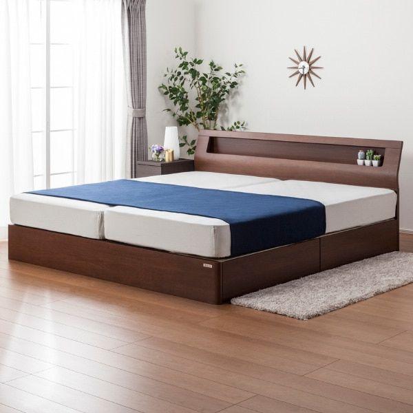 便利な棚・コンセント付き。美しいウォールナット材を使用したベッドフレーム(Sキャビ)