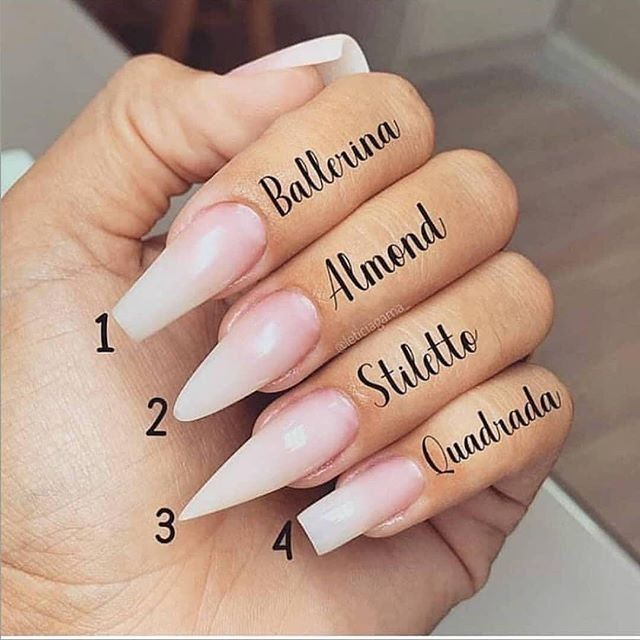 1 2 3 Or 4 Ballerina Almond Stiletto Or Quadrada Which Nail Shape You Like More Cr Leticiagama Acrylic Nail Shapes Swag Nails Nail Shape