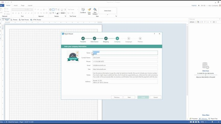 WinForms Reporting Tools: Creating Invoice Using Wizard